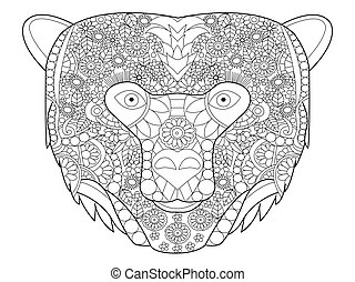 Bear head coloring vector for adults