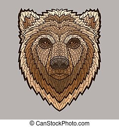 Bear head in mosaic style