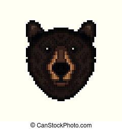 Bear head in pixel art style.