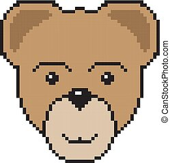 Bear head in pixel art style. Vector illustration for game or design.