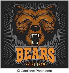 Bear Head Logo Mascot Emblem.