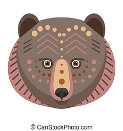 Bear Head Logo. Vector decorative Emblem.