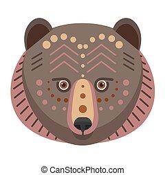 Bear Head Logo. Vector decorative Emblem.