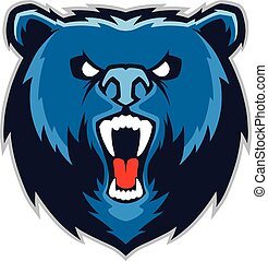 Clipart picture of a bear head cartoon mascot character
