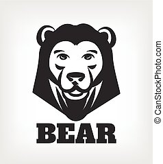 Bear head vector black icon logo