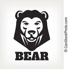 Bear head vector black icon logo