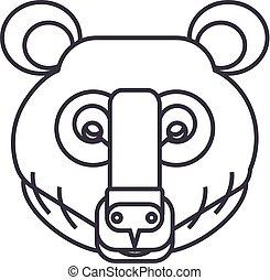 bear head vector line icon, sign, illustration on background, editable strokes