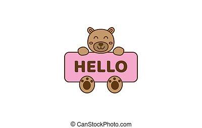bear head with banner cute cartoon logo vector  illustration