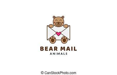 bear head with envelope cute cartoon logo vector  illustration