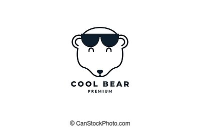 bear head with sunglasses line logo vector icon illustration design
