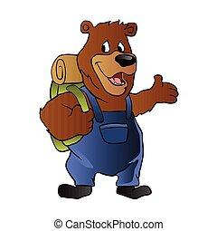 bear hiker.cartoon bear,