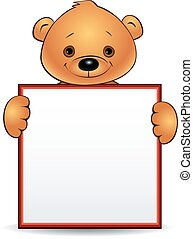 bear holding a blank sign