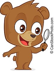 Bear holding a magnifying glass