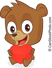 Bear holding a red love heart