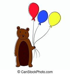 Bear Holding Balloons Vector