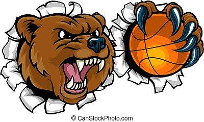 Bear Holding Basketball Ball Breaking Background