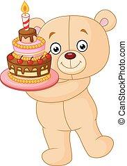 bear holding birthday cake - Vector illustration of bear...