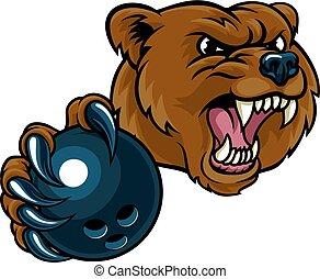 Bear Holding Bowling Ball