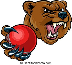 Bear Holding Cricket Ball