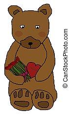 Bear Holding Flowers and Chocolate - Teddy bear holding...