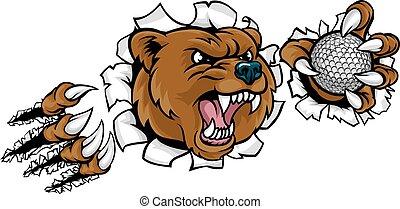 Bear Holding Golf Ball Breaking Background