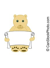 Bear Holding Scroll - A yellow bear holding an empty scroll.