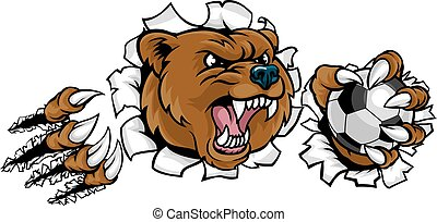 Bear Holding Soccer Ball Breaking Background - A bear angry...