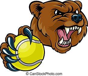 Bear Holding Tennis Ball