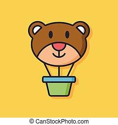 bear hot air balloon icon