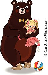 Bear Hug and Holding in Paws Little Baby Girl