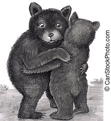 Two bears are standing up, with arms around each other, giving each other a bear hug outdoors in nature during the day. Black, white, gray original illustration.