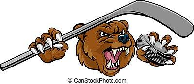 Bear Ice Hockey Player Animal Sports Mascot