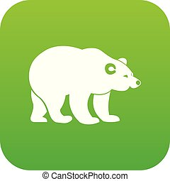 Bear icon digital green for any design isolated on white...