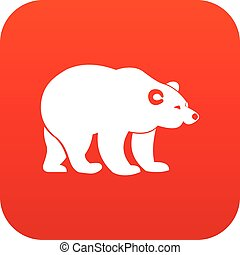 Bear icon digital red for any design isolated on white...