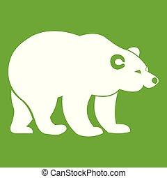 Bear icon green - Bear icon white isolated on green...