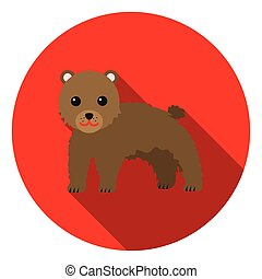 Bear icon in flat style isolated on white background. Animals symbol stock vector illustration.