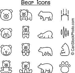 Bear icon set in thin line style vector illustration graphic design