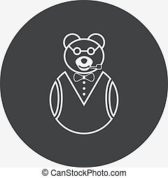 Bear icon with glasses and a pipe.