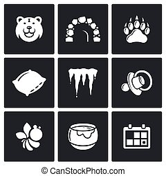 Bear icons set. Vector Illustration