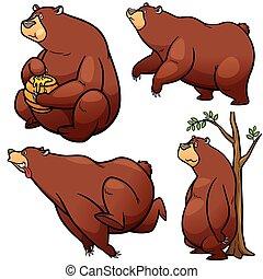 Bear - Vector illustration of Cartoon Bear Character Set