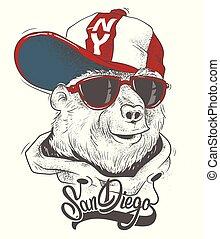 Bear in cap vector print design for t-shirt