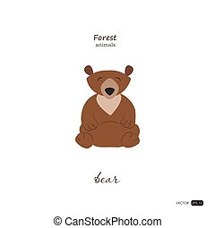 Bear in cartoon style on white background.