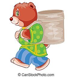 bear in clothes carries a wicker basket on his shoulders, cartoon illustration, illustration on a white background, vector illustration,