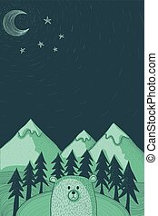 bear in forest at night illustration