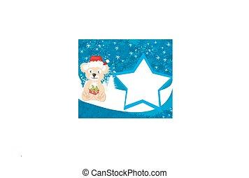 Bear in Santa Claus hat - card
