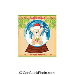 Bear in Santa Claus hat