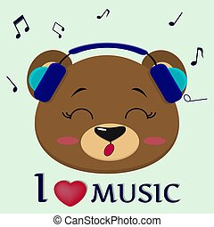 Bear is a brown musician who sings songs. Head in blue headphones with closed eyes, in the style of cartoons.