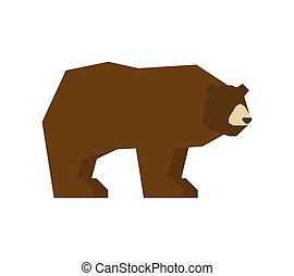 Bear isolated. Grizzly forest predator beast. Vector