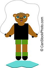This Bear loves to jump rope everyday.