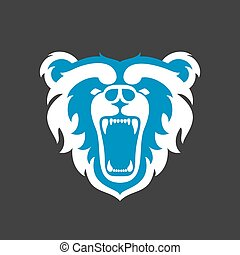 Bear Logo for sport club or team. Animal mascot head logotype. Template. Vector illustration.